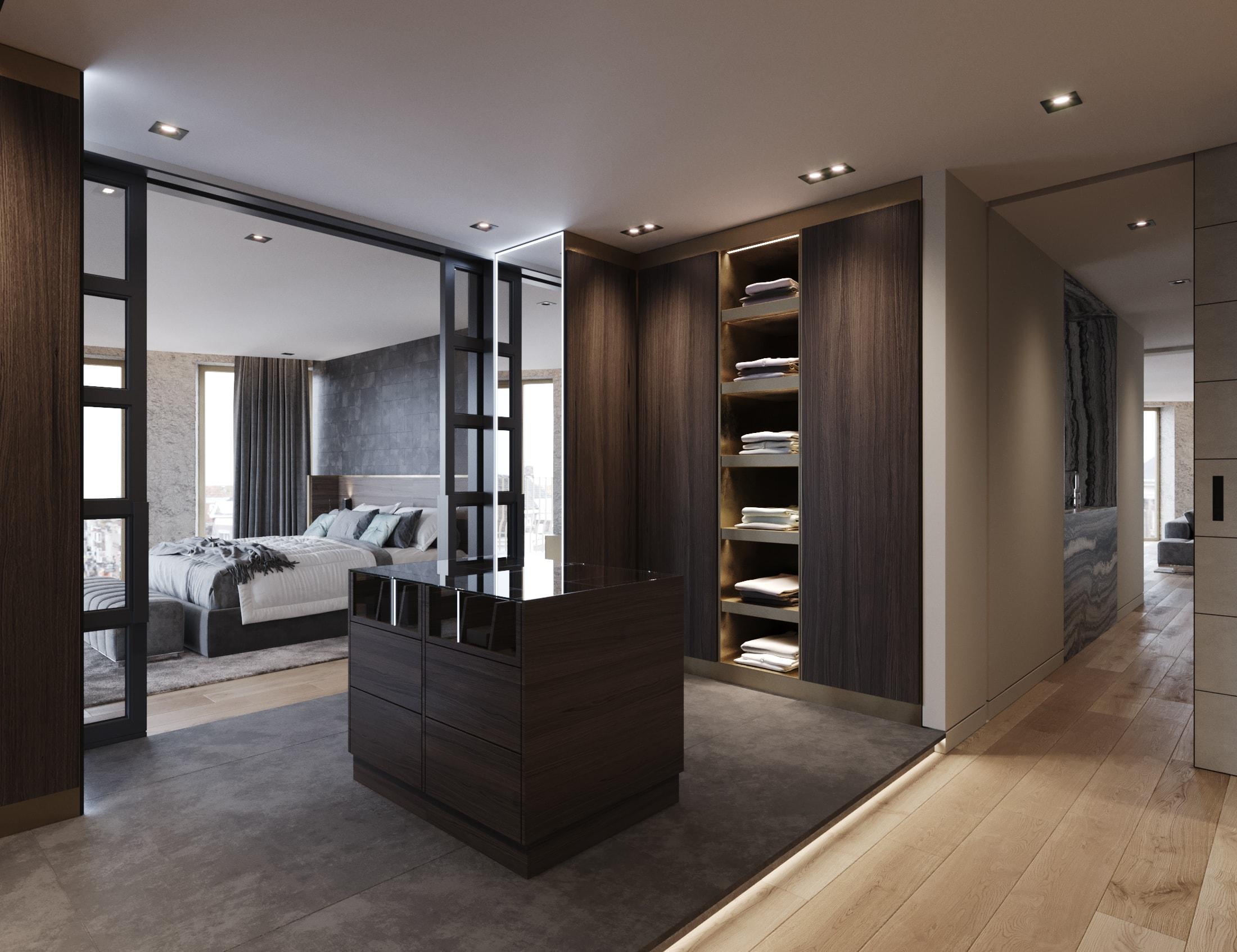 Merckt Groningen Appartementen op de hoek van De Grote Markt, DUIN INTERIOR Interieur. Een luxe inloopkast op maat gemaakt. Details in messing.