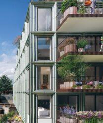 Mercado Groningen gevel aanzicht met groene balkons in hartje Groningen aan de Rode Weeshuisstraat